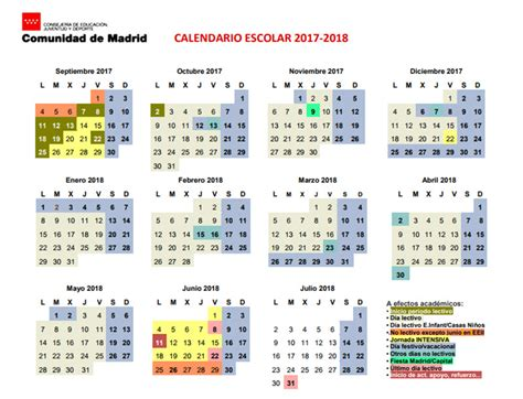 Calendario Escolar 2018 Madrid Pdf Calendario Escolar De La Comunidad De Madrid Curso 2017