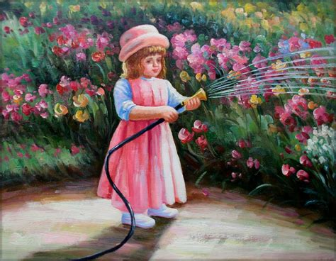 girl watering flowers framed quality hand painted oil painting girl watering