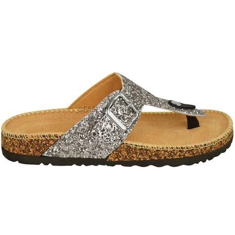 Sandal Glitter womens flat sandals glitter flip flops slip on toe post grip size ebay