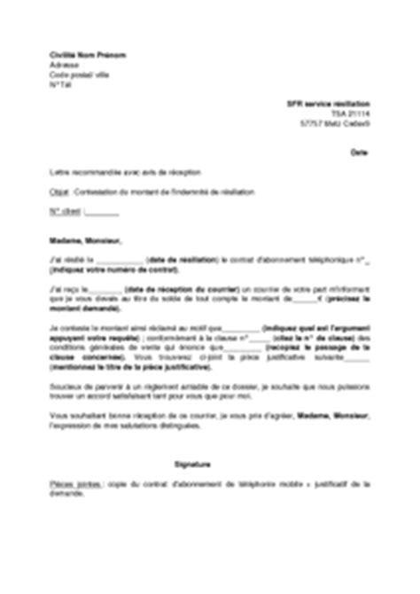 Lettre De Resiliation Sfr Web Trotter Exemple Gratuit De Lettre Contestation Montant Indemnit 233 R 233 Siliation Aupr 232 S Sfr