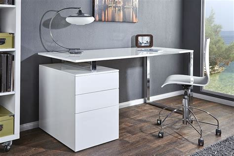 bureau design blanc laqu 233 avec rangement compact