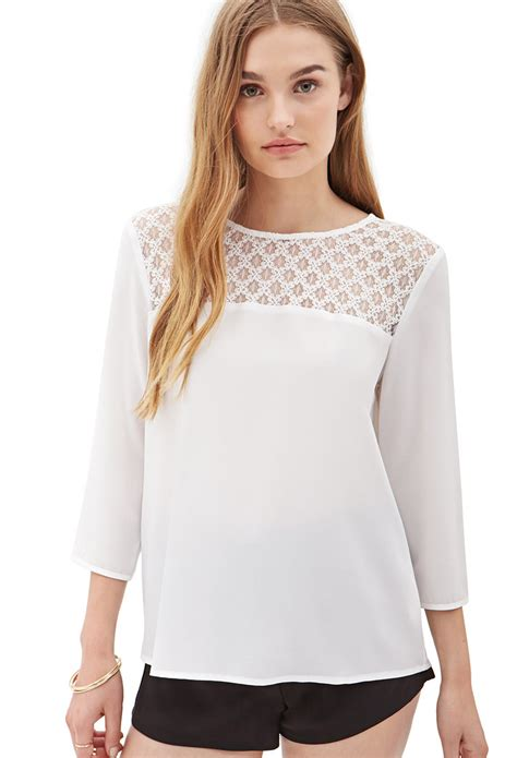 Forever Blouse lyst forever 21 lace paneled chiffon blouse you ve been added to the waitlist in white