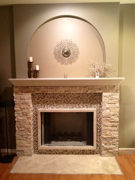 navajo stackstone tile fireplace in naperville il