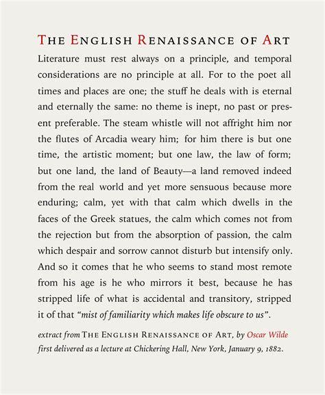 biography text in english oscar wilde the renaissance of english art circa 1882