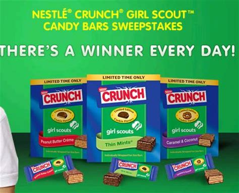 Candy Sweepstakes - nestle crunch girl scout candy bar sweepstakes who said nothing in life is free