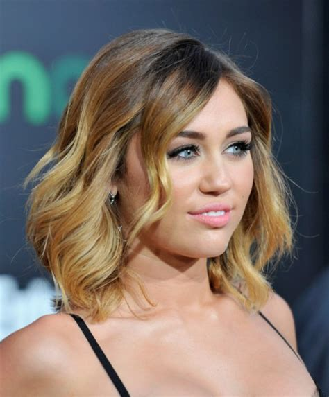 clavicle length ombre hair miley cyrus ombre hair layered mid length hairstyles for