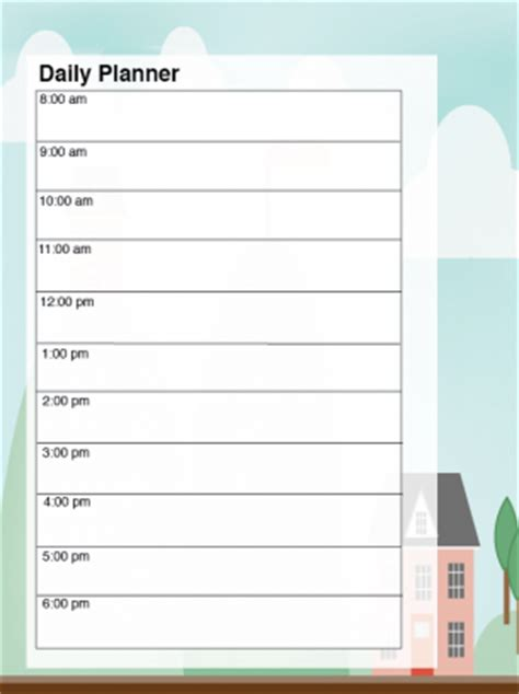 printable daily planner hour calendar template 2016