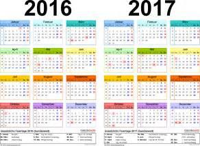 Kalender 2016 Drucken Zweijahreskalender 2016 2017 Als Excel Vorlagen Zum