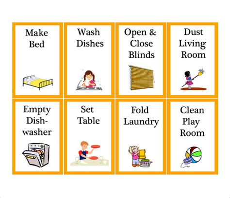 with pictures pdf chore chart template 8 free documents in