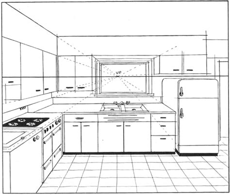kitchen interior design constructed in one point perspective drawing perspective