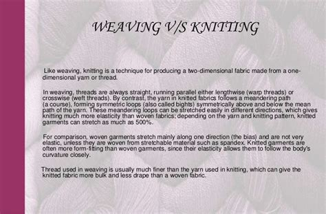 weaving and knitting difference knitting