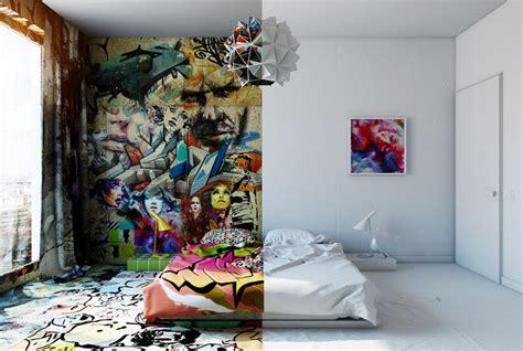 half hotel rooms half white half graffiti designer splits hotel room into two worlds bored panda