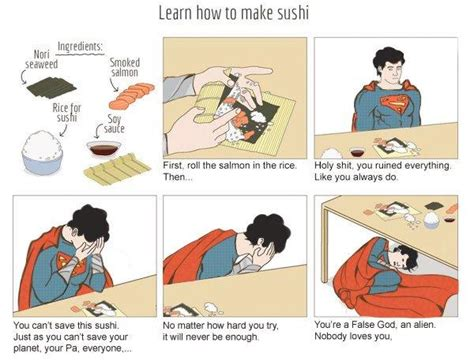 sushi meme how to make sushi superman version how to make sushi