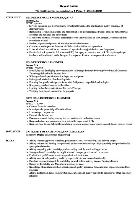 Lead Electrical Engineer Cover Letter by Lead Electrical Engineer Sle Resume Resume Formats