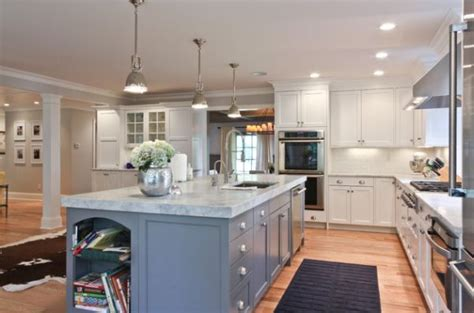 long island kitchen long kitchen island with marble countertop lit up using