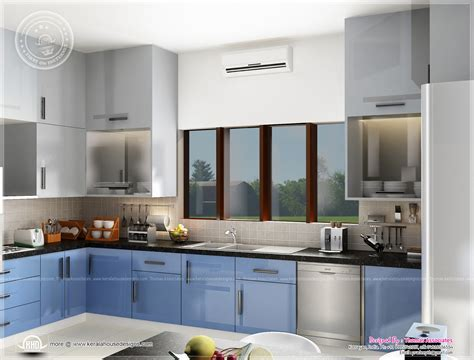 home kitchen interior design photos beautiful blue toned interior designs kerala home design