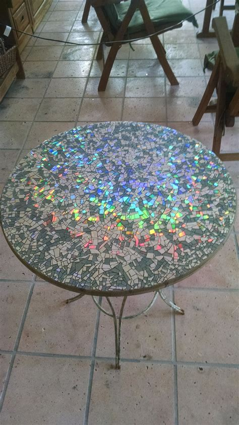 Mosaic Patio Table Top I Made A Mosaic Tabletop Using Broken Cds Finishing It Before Is My Present To