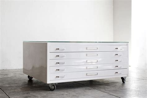 Flat File Cabinet Coffee Table by Flat File Coffee Table In Gloss White Size Medium