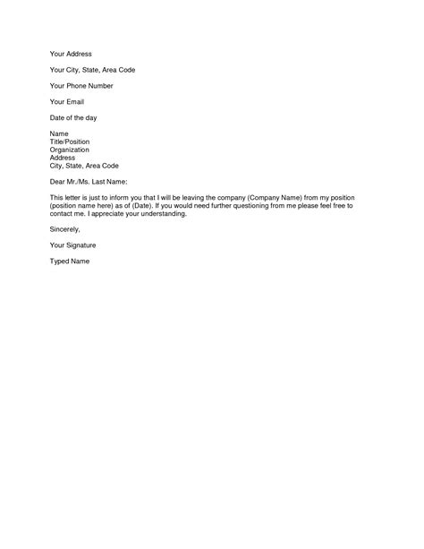 templates for letters of resignation resume exles templates format resignation template