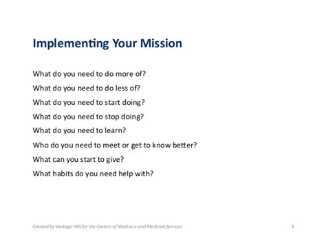 how to start a personal mission statement 1 6 implementing your personal mission statement