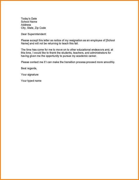 letter of resignation exles letters of resignation sle sarahepps 1422