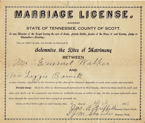 Walker County Ga Marriage Records Co Tn Marriages 1911 1920