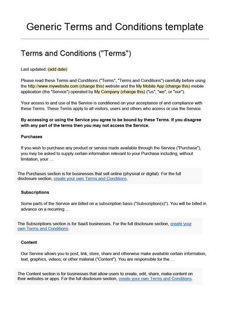 purchase terms and conditions template 40 free terms and conditions templates for any website