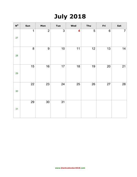 blank calendar july  portrait