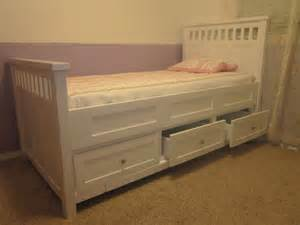 Wood Bed Frame With Drawers Bedroom White Wooden Kingsize Bed With Storage Drawer And