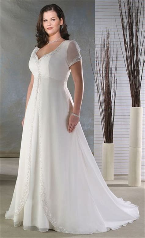 Empire Sheer Short Sleeve Plus Size Wedding Dresses