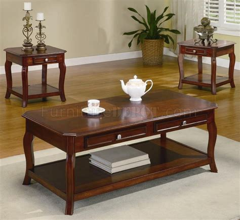 Cherry Coffee Table Sets Warm Brown Cherry Finish Traditional 3pc Coffee Table Set