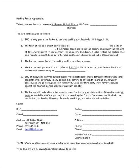 11 Parking Agreement Templates Sle Templates Parking Lot Rental Agreement Template