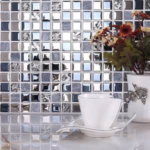 blue silver wall tile blend metal and glass stainless
