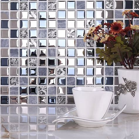 silver kitchen backsplash tile blue silver wall tile blend metal and glass stainless