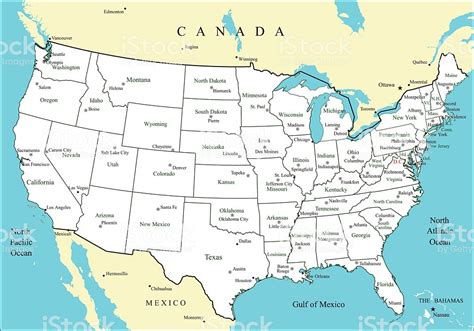usa map states capitals and major cities usa map with states and major cities and capitals stock