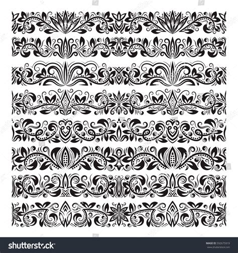 baroque pattern brush set vintage border brushes templates baroque stock vector