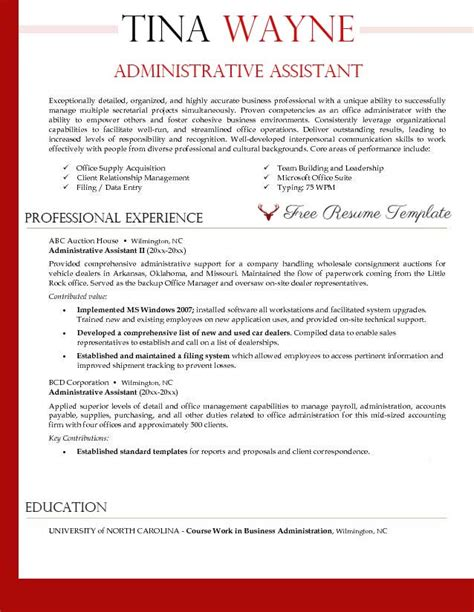 administrative resume template administrative assistant resume template resume templates