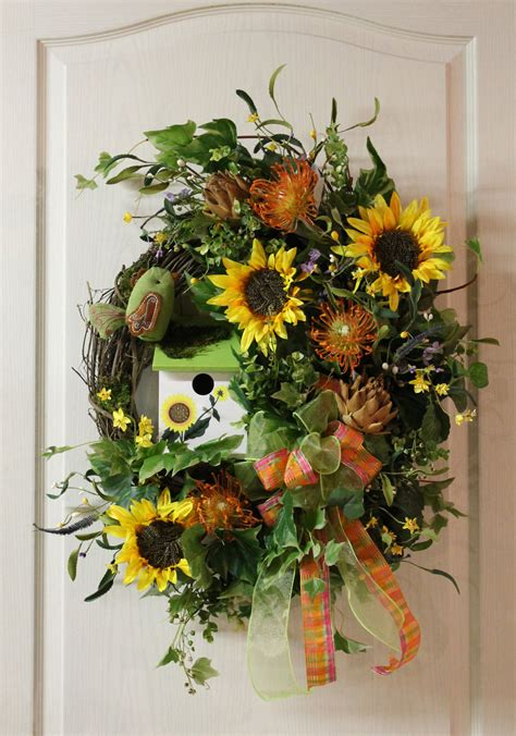 Country Wreaths For Front Door Items Similar To Summer Fall Front Door Wreath Country Sunflowers With Birdhouse Free