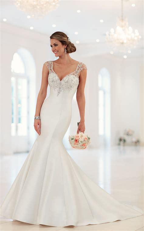 beaded cap sleeve gown cap sleeve trumpet wedding dress with beaded back stella