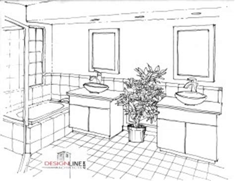 sketch of bathroom master bath home remodel design line architects