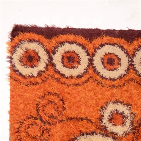 orange modern rugs orange modern rya rug for sale at 1stdibs