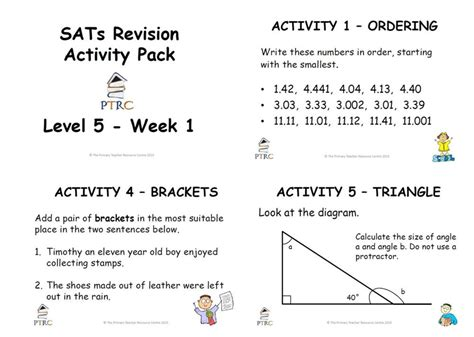 Sats Revision Homework Sheets by Sats Revision Activity Pack Level 5