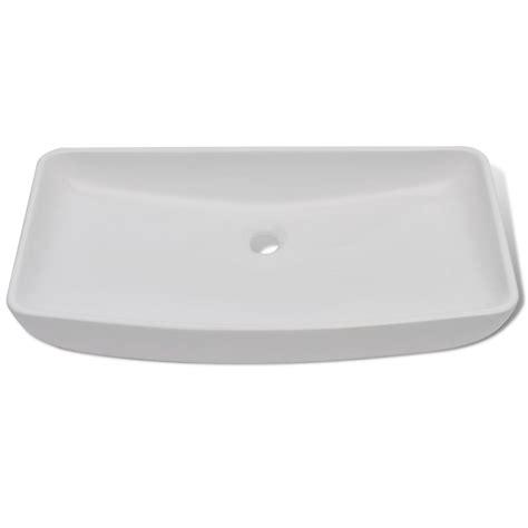 lavello bianco lavello bianco in ceramica di lusso a forma rettangolare