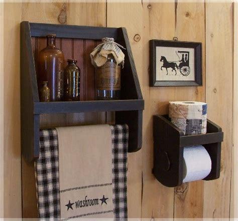 bathroom storage set towel shelf toilet paper holder farmhouse style original design by