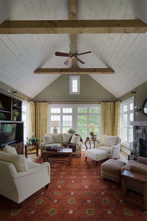 shiplap ceiling family room traditional with family room