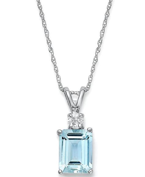 14k white gold necklace aquamarine 1 5 8 ct t w