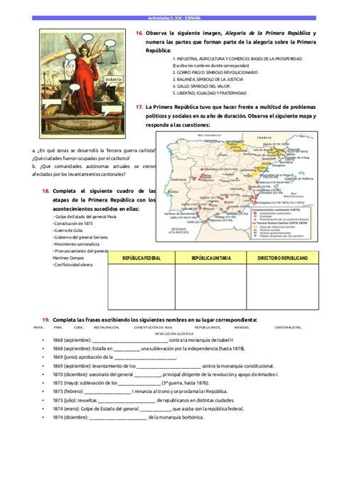historia de espaa en actividades historia de espa 241 a s xix