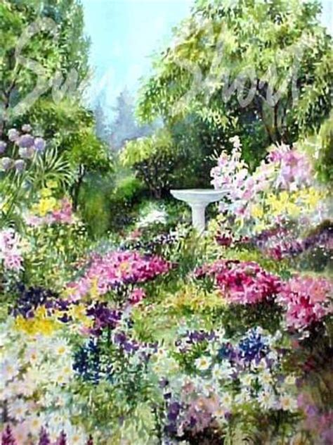 Paintings Of Flower Gardens Watercolor Gardens Flower Garden Paintings By Susie