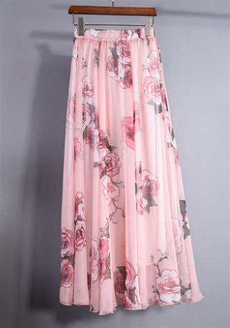 pretty pink garden chiffon maxi skirt summer floral