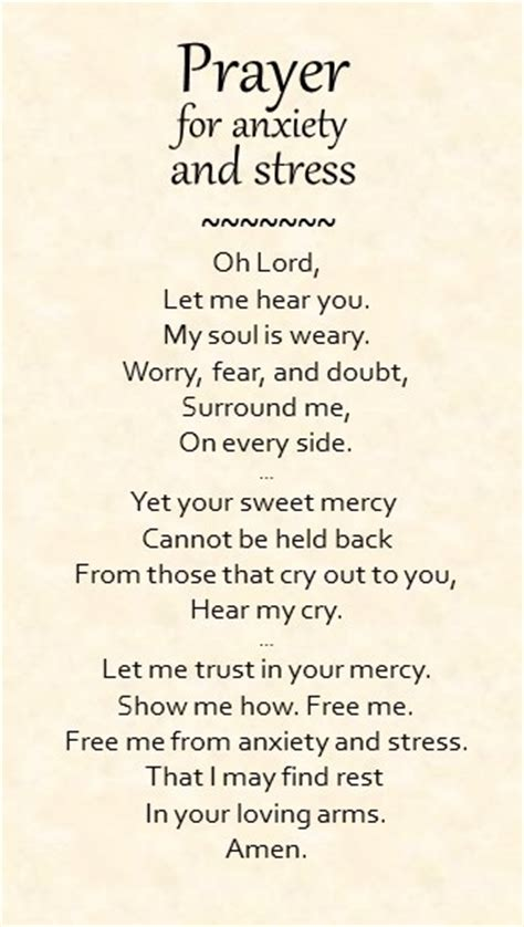 Comforting Words For Anxiety by Prayer For Anxiety And Stress Prayer For Anxiety